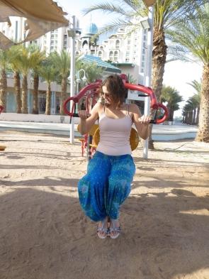 Haciendo un poquito de ejercicio en la playa de Eilat