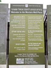 Panel de bienvenida al Muro de las Lamentaciones (Kotel).