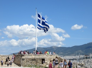 Bandera de Grecia ondeando
