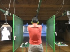 Juny shooting with the deafening Glock!
