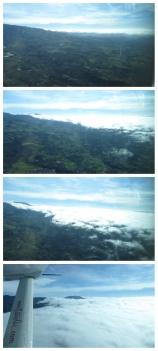 Vamos acercándonos a las nubes y las sobrevolamos a baja altura