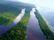 Foto de costaricainfo.net. Vista aérea de Tortuguero, por un lado el Mar Caribe y por el otro los canales.