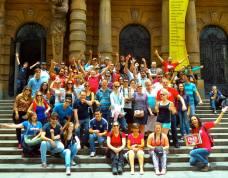 Hasta luegoooo! Así de abarrotao estaba el grupo del free walking tour de Sao Paulo!