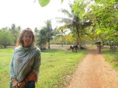 La india, la vaca y yo entre palmeras ;)